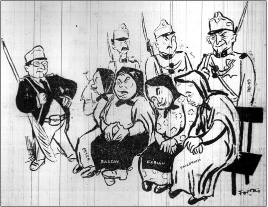 Az Újság című lap egyik 1929-es karikatúrája.