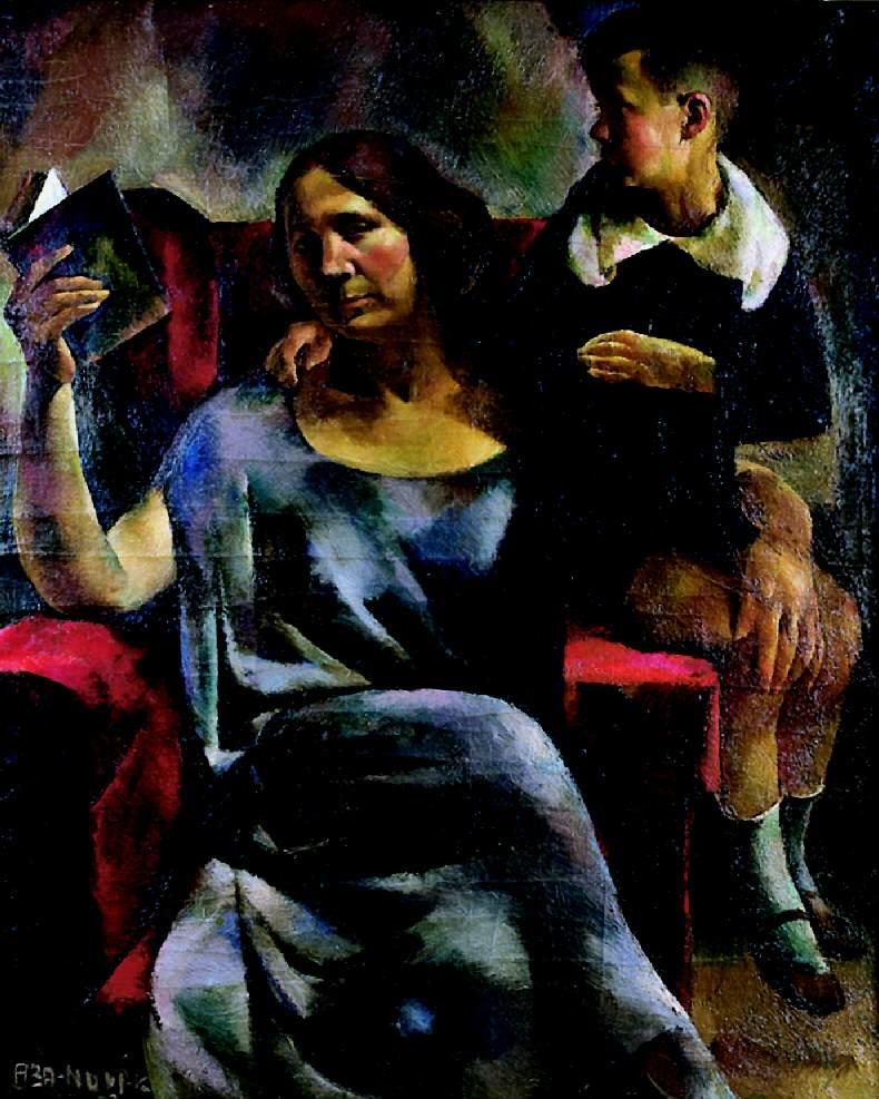 Aba-Novák Vilmos festménye Kosztolányi Dezsőnéről és Ádám fiáról, 1923 (forrás: wikipédia)