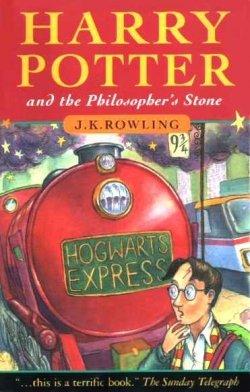 A Harry Potter és a bölcsek köve egyik első angol kiadásának borítója (forrás: wikipedia)